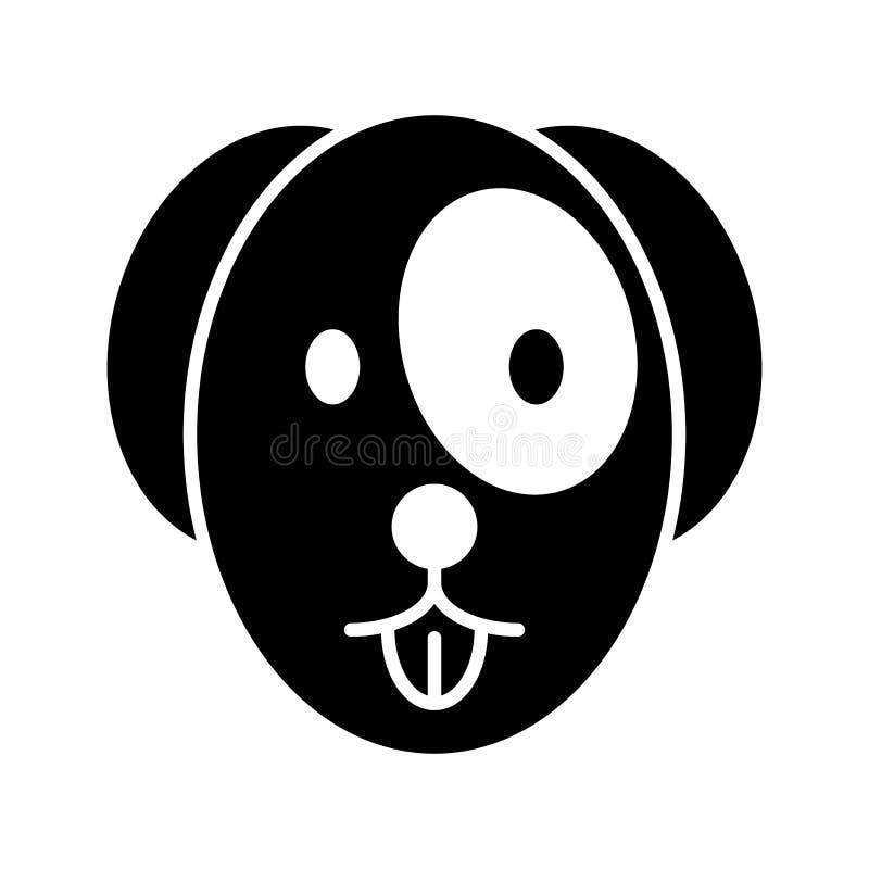Hundshowerna den enkla vektorsymbolen för tunga Svartvit illustration av hundframsidan Fast linjär älsklings- symbol vektor illustrationer
