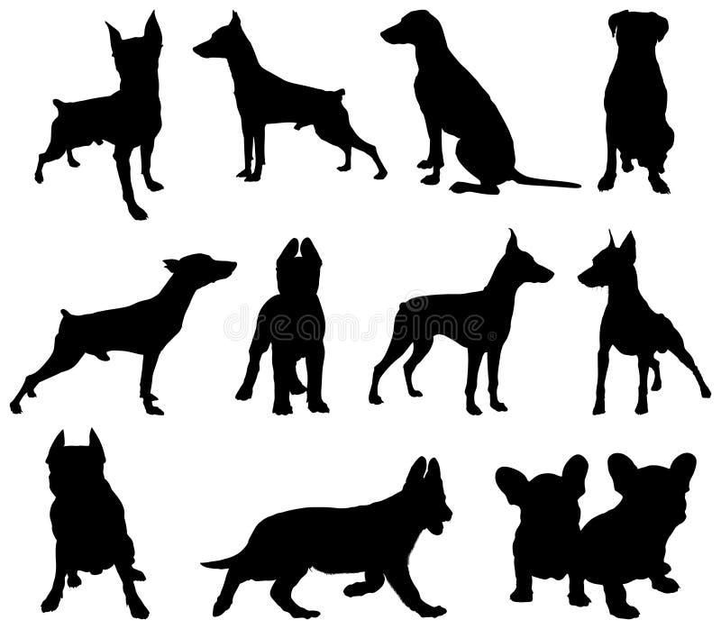 hundsilhouette vektor illustrationer