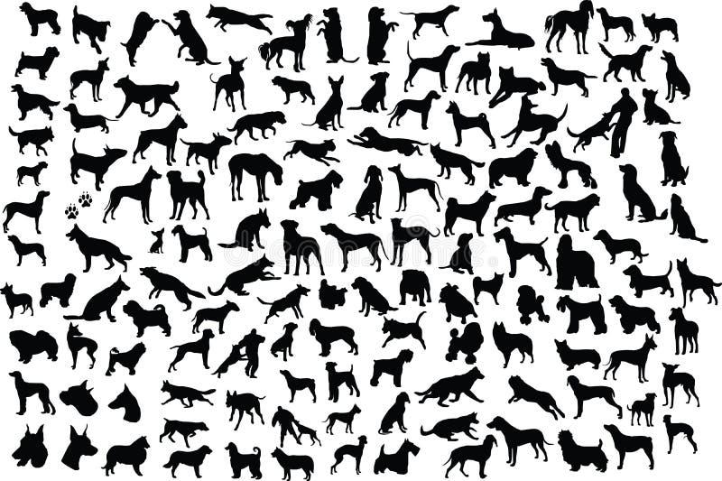 hundsilhouettes royaltyfri illustrationer
