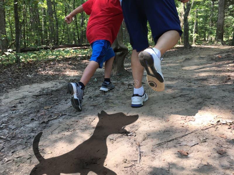 Hundskugga som jagar fadern och sonen fotografering för bildbyråer
