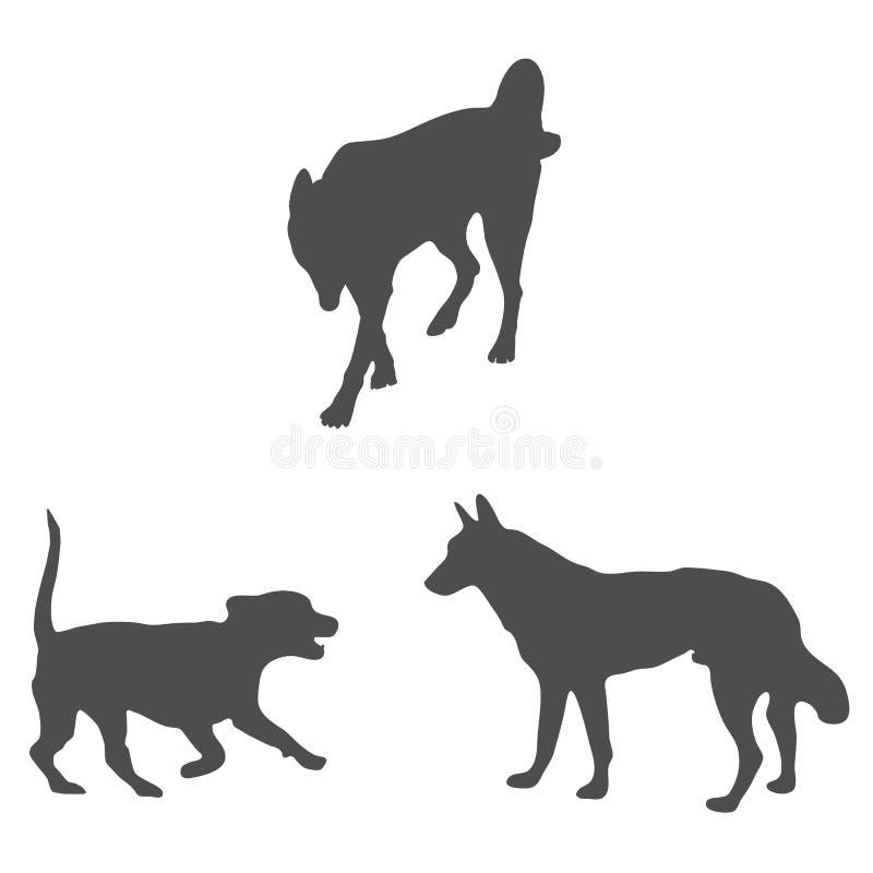 Hundskuggor mörk djur bild i vektor royaltyfri illustrationer