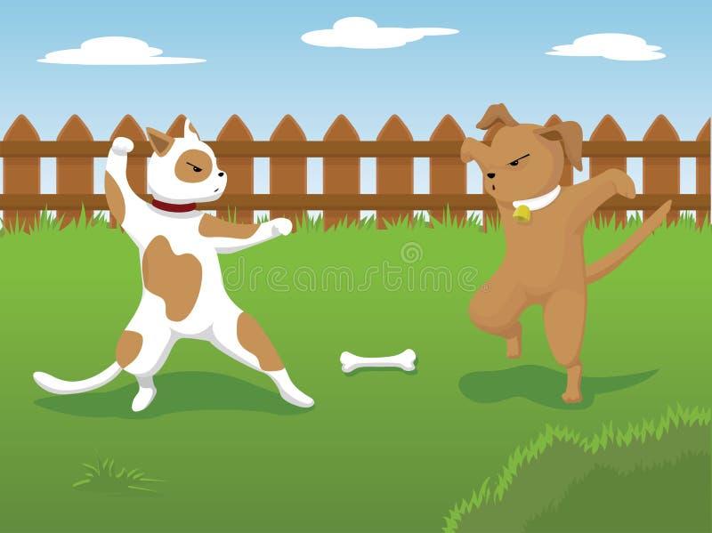 Hundslagsmål royaltyfri illustrationer
