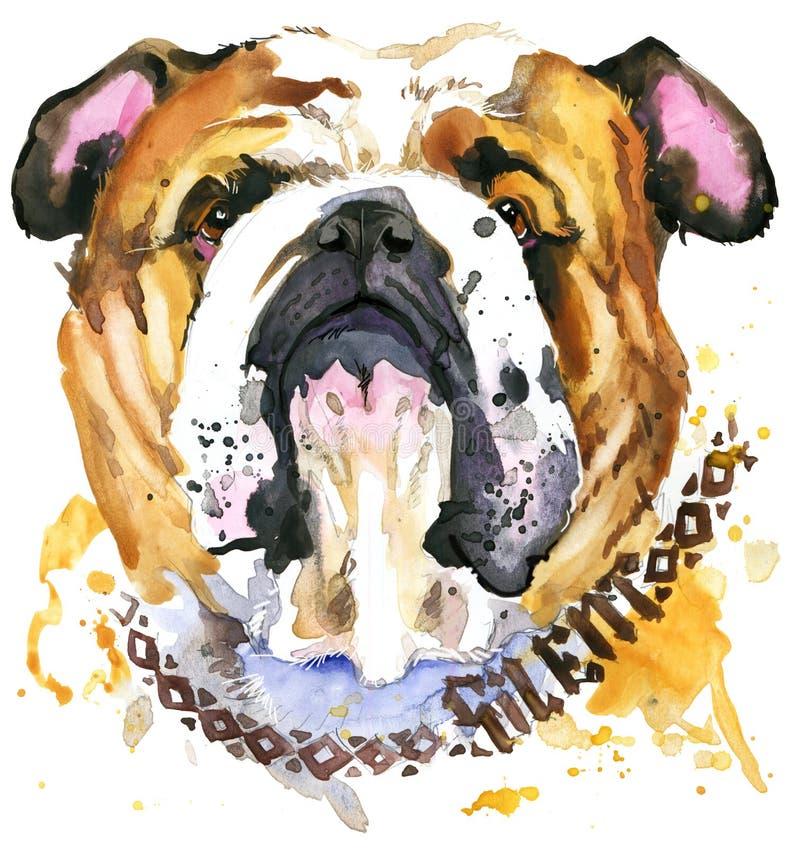 hundstående s HundT-tröjadiagram vattenfärghundillustration vektor illustrationer