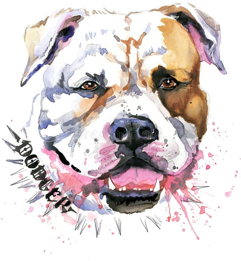 hundstående s HundT-tröjadiagram vattenfärghundillustration Aggressiv hundavel
