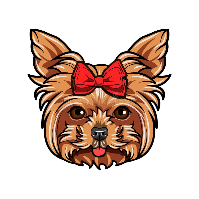 hundståendeterrier yorkshire böj red _ Yorkshire Terrier avel vektor stock illustrationer