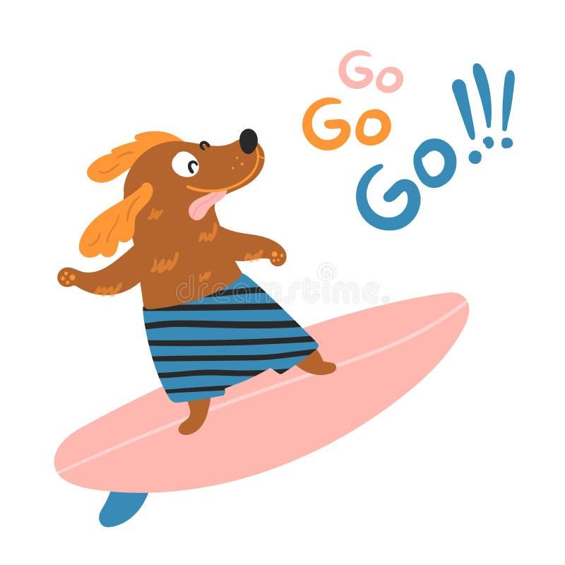 Hundsurfaren surfar på en surfingbräda royaltyfri illustrationer