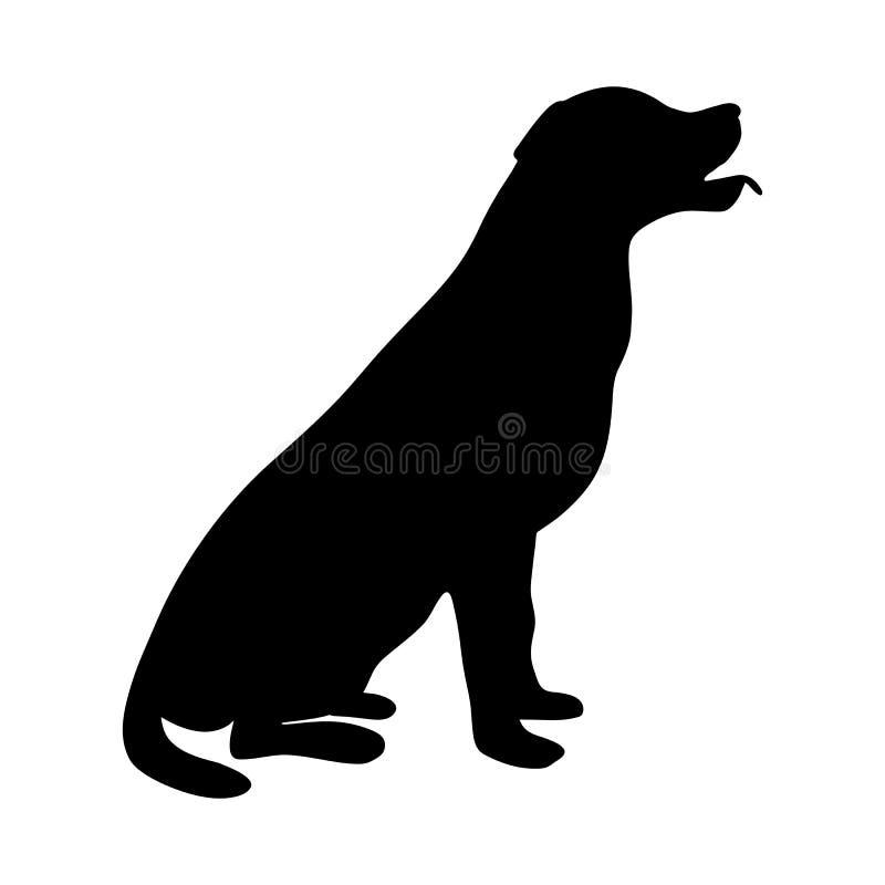 Hundsymbol Labradorkontursammanträde royaltyfri illustrationer