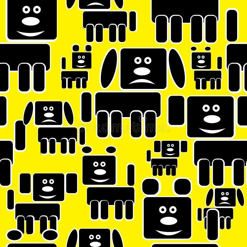 Download Hundsymboler På Gul Sömlös Modell Vektor Illustrationer - Illustration av seamless, husdjur: 37349187