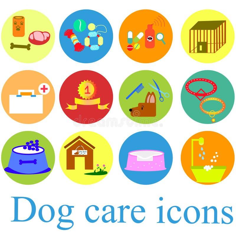 Hundsymboler sänker fastställt färgglat royaltyfri illustrationer