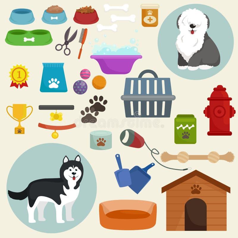 Hundsymboler sänker uppsättningen med matskålen för dyngahundkojakoppeln stock illustrationer