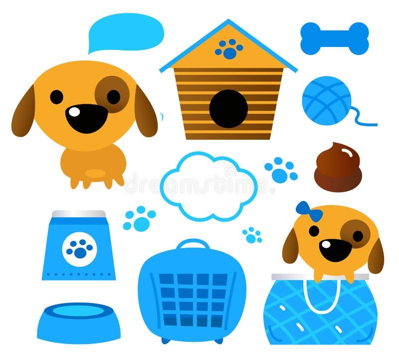 Hundtillbehör som ställs in som isoleras på (blå) white, stock illustrationer