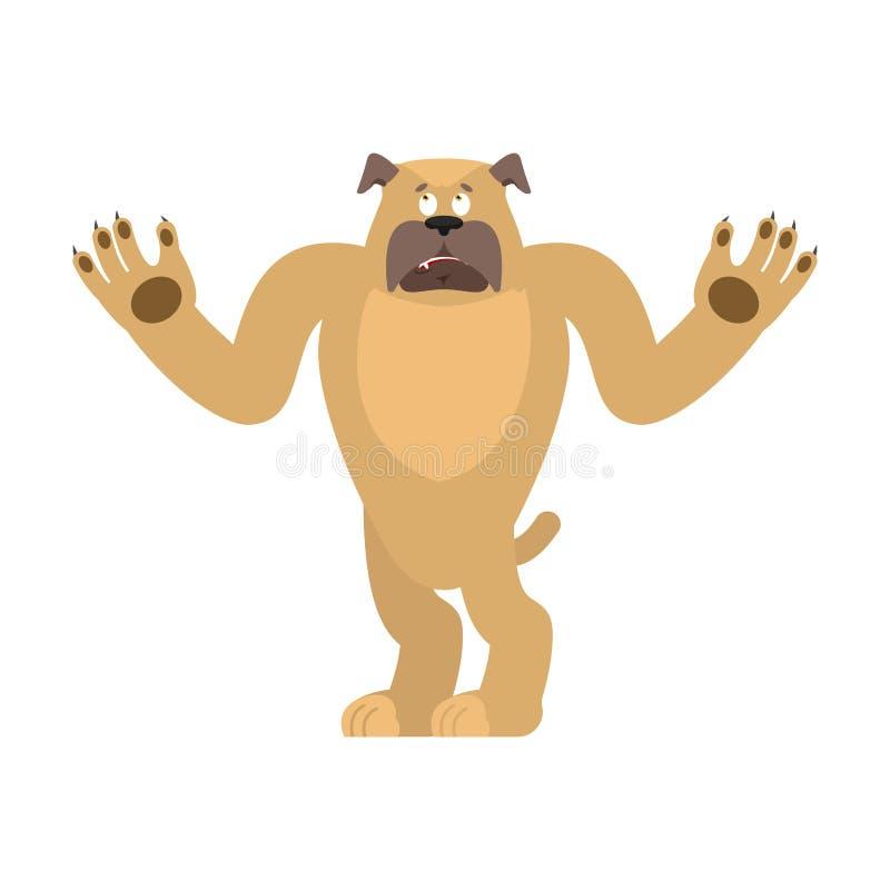 Hundverwirrtes emoji oops Verblüffte Gefühle des Haustieres Bulldogge surpris vektor abbildung