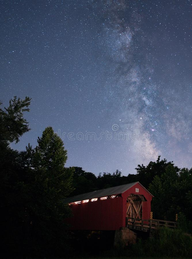 Hune Covered Bridge with the Milky Way royalty free stock images
