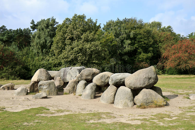 Hunebed D 53 of Havelte, Holland. D53 is the second largest hunebed in Holland and one with a remarkable history. In and under the floor of the burial chamber royalty free stock photo