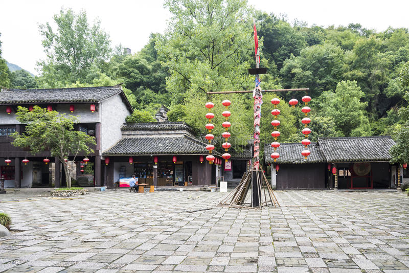 Hung with red lanterns in the square royalty free stock images