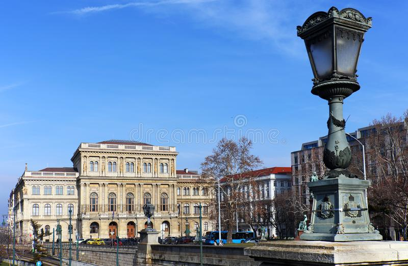 The beautiful building of the Hungarian Academy of Sciences founded in 1825 by Count István Széchenyi. Budapest stock images