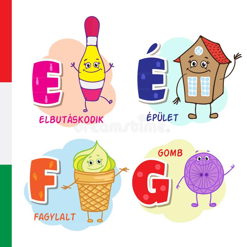 Hungarian alphabet. Bowling, building, ice cream, button. Vector letters and characters. vector illustration