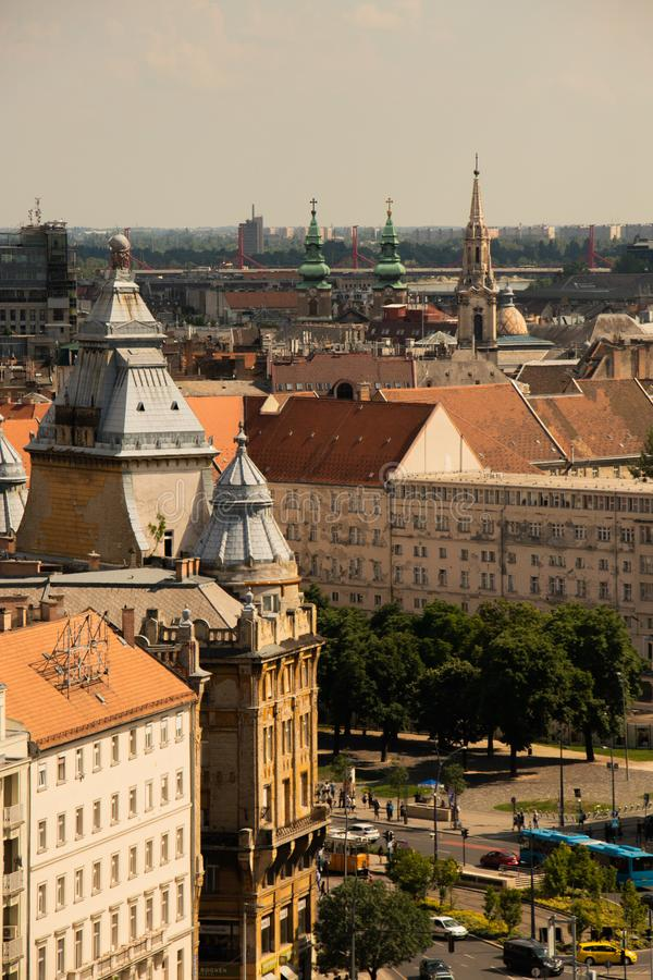 Hungarian capital Budapest city skyline aerial view stock images