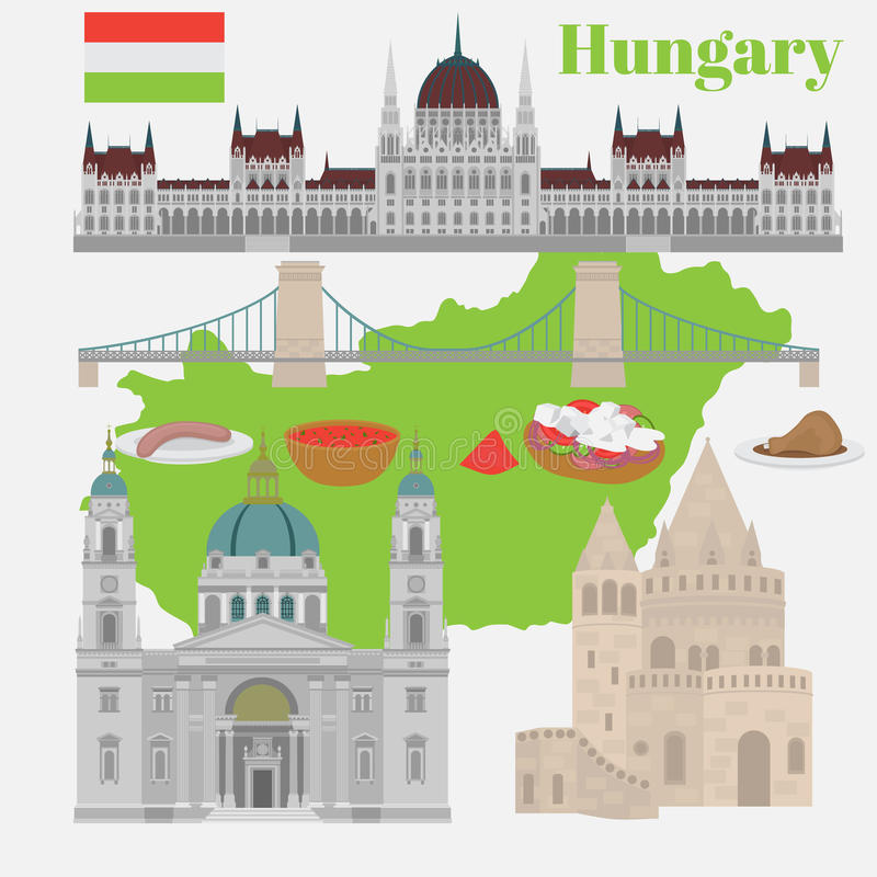Hungarian City sights in Budapest. Hungary Landmark Travel And Journey Architecture Elements Buda castle, Chain Bridge. Budapest p. Hungarian City sights in stock illustration