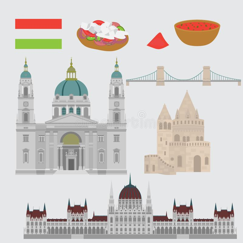 Hungarian City sights in Budapest. Hungary Landmark Travel And Journey Architecture Elements Chain Bridge. Budapest parliament, Fi. Hungarian City sights in vector illustration