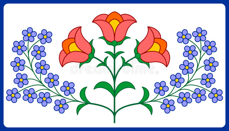 Hungarian embroidery floral decoration royalty free illustration