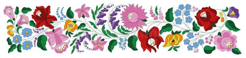 Hungarian embroidery folk pattern border vector illustration