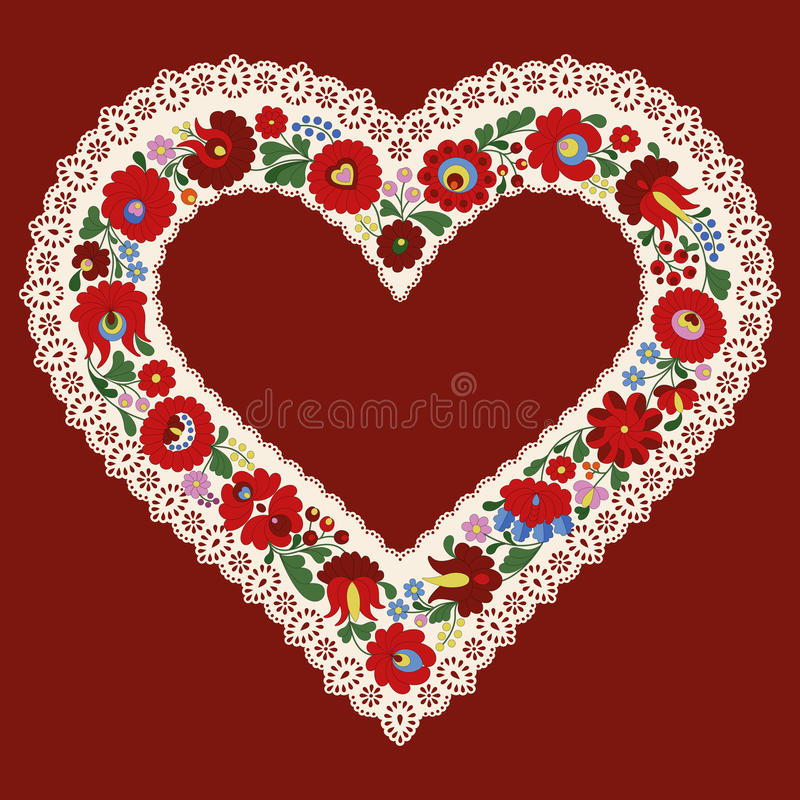 Hungarian embroidery heart frame ribbon with lace edge vector illustration
