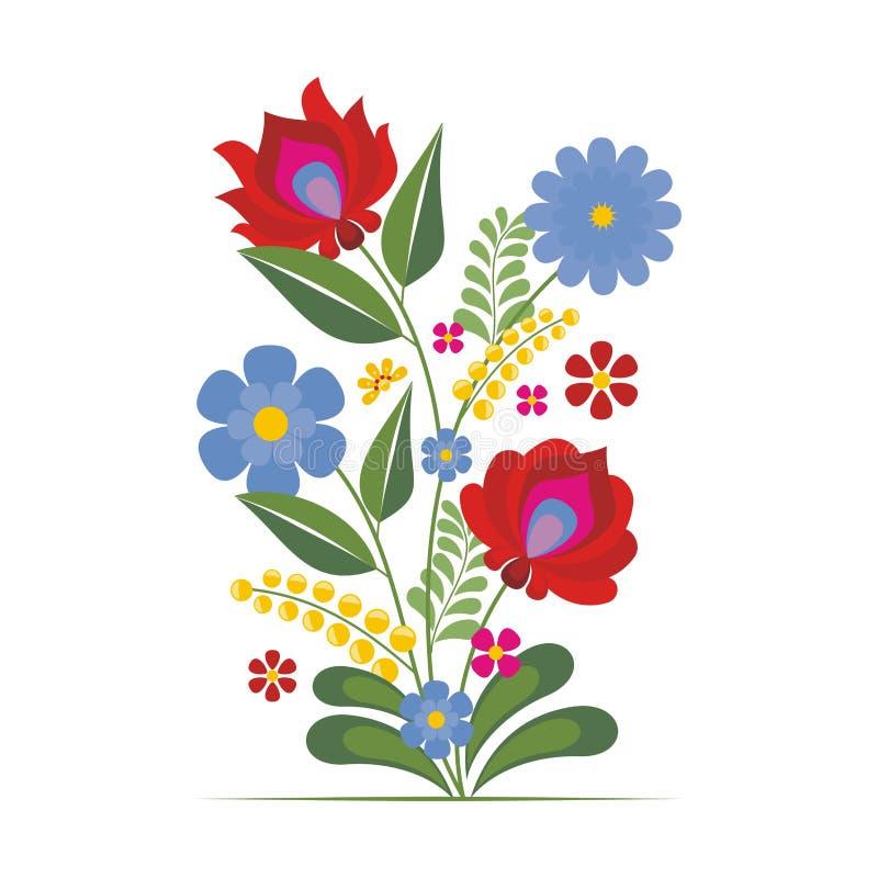 Hungarian Ethnic Folk Flower Design stock illustration