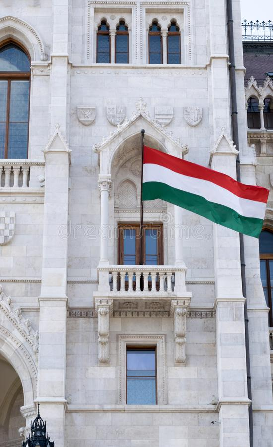 Hungarian flag and Parliament Building royalty free stock photo