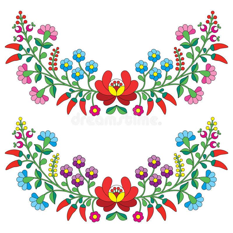Hungarian floral folk pattern - Kaloscai embroidery with flowers and paprika vector illustration