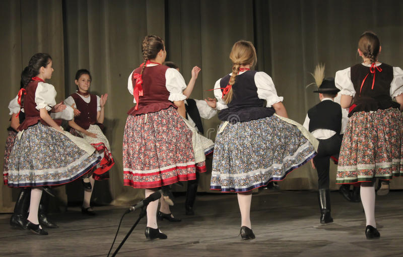 Hungarian folk dancers stock photography
