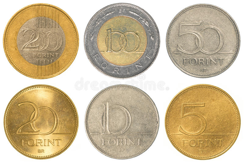 Hungarian forint coins collection set stock image