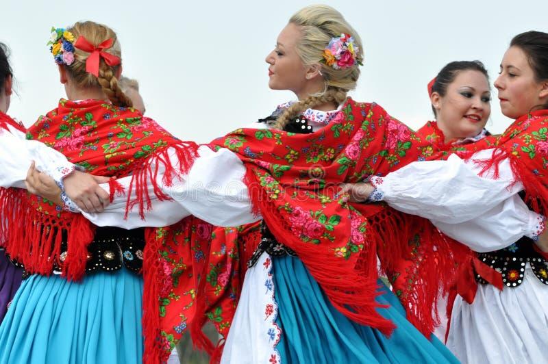 Hungarian girls dancing at Heritage days. Young hungarian girls dancing at Edmonton's Heritage days royalty free stock photos