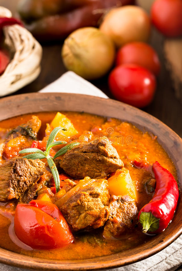 Hungarian goulash in plate closeup stock photography