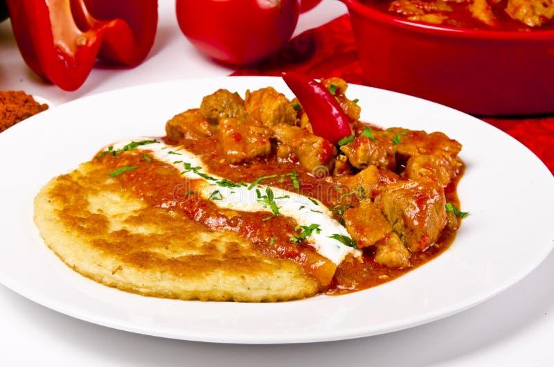 Hungarian goulash with potato pancakes stock image