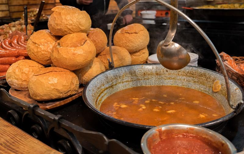 Hungarian Goulash - is a soup or stew of meat and vegetables. Sold at christmas market royalty free stock photos