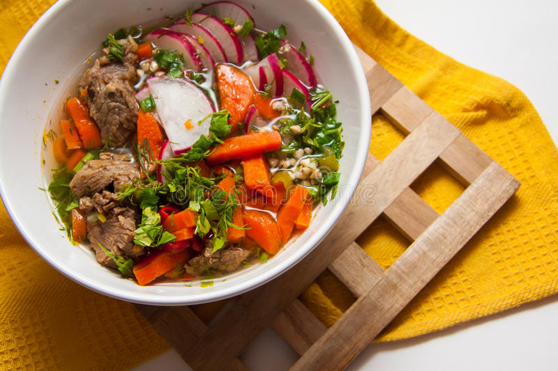 Hungarian goulash. Spicy beef goulash with buckwheat and parsley stock photography