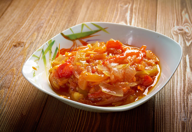 Hungarian Lecho. Appetizer baked carrot royalty free stock photography