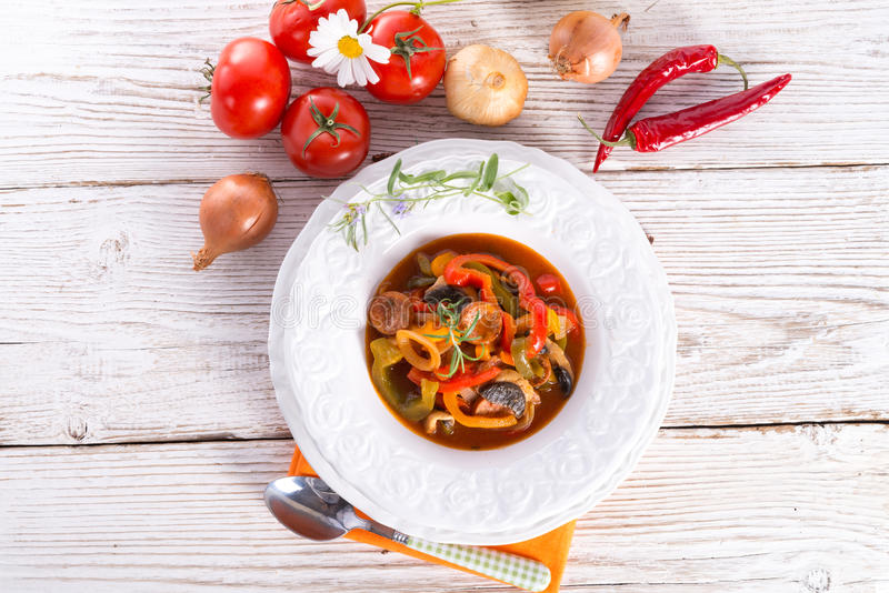 Hungarian Lecho. A fresh and delicious Hungarian Lecho stock photo