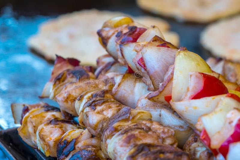 Hungarian meats at a market stall in Budapest.  royalty free stock image