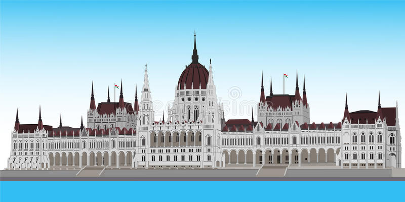Hungarian parliament. Building in Budapest royalty free illustration