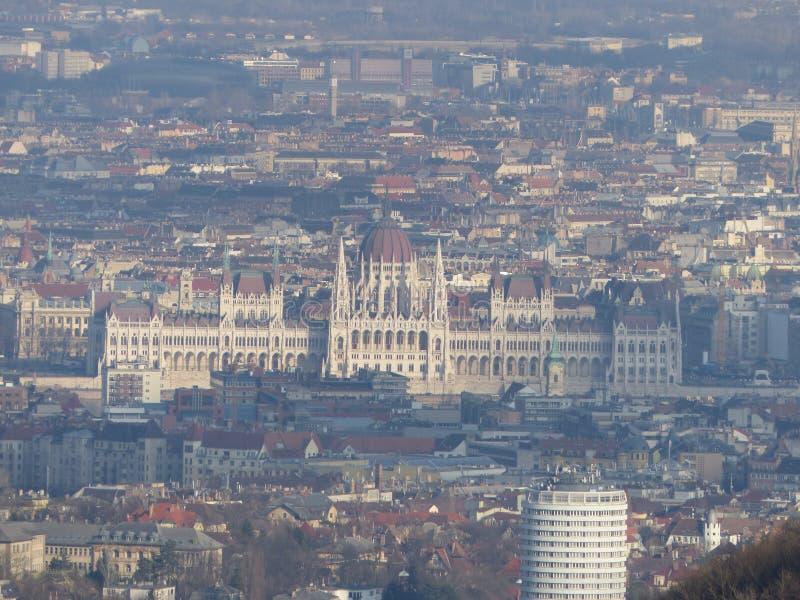 Hungarian Parliament as seen from Libegő. Shot with a Lumix DMC-FZ200 stock images