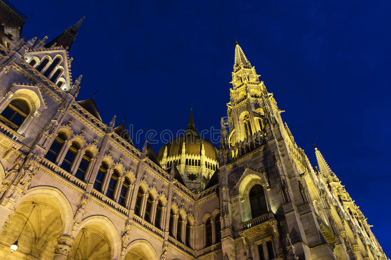 Hungarian Parliament at blue hour, Budapest, Hungary. royalty free stock photography