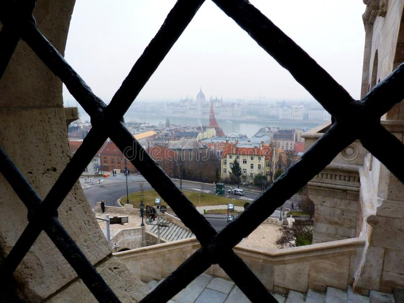 The Hungarian Parliament in Budapest viewed from he Fisherman`s Bastion royalty free stock images