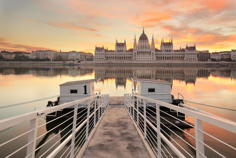 The Hungarian Parliament in Budapest at sunrise royalty free stock photo
