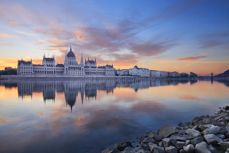 The Hungarian Parliament in Budapest at sunrise stock image