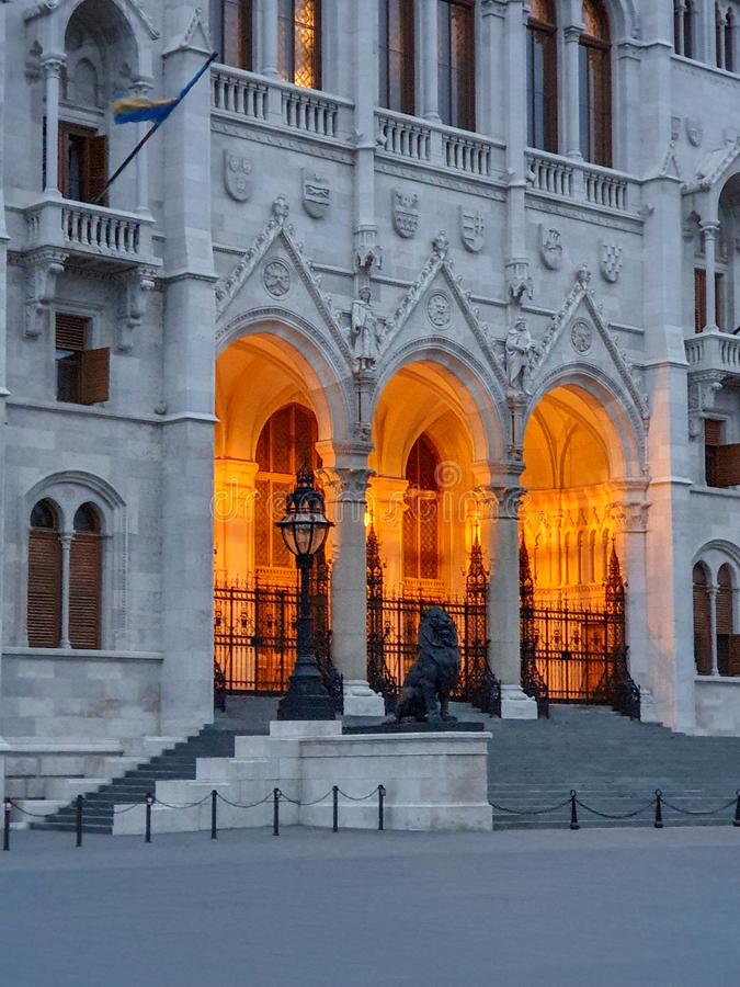 Hungarian parliament, Budapest at sunset. Lighting entrance stock photo