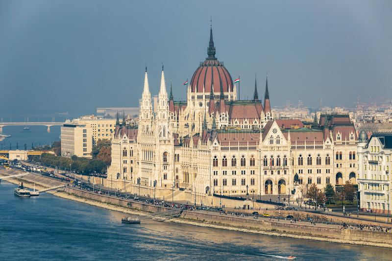 Hungarian Parliament building aerial view. And Danube river embankment, Budapest stock image