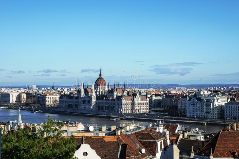 Hungarian Parliament Building in Budapest on the Danube River.  stock image