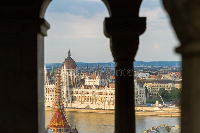 Hungarian Parliament Building in Budapest. On the Danube River, View from Fisherman`s Bastion royalty free stock images